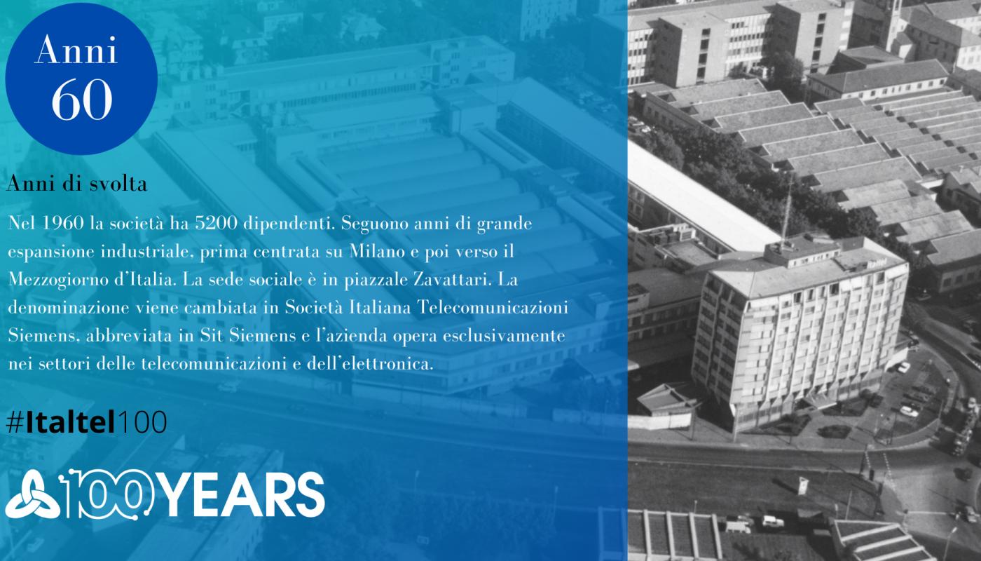 Veduta aerea del complesso Sit Siemens in Milano che ospita le produzioni di Ponti Radio, sistemi Multiplex e altre apparecchiature di trasmissione. 1963